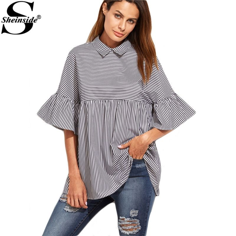 Sheinside Women <font><b>Striped</b></font> Blouses Ruffle Sleeve Casual Tops Autumn Style New Arrival Ladies Shirt Babydoll Cute Blouse