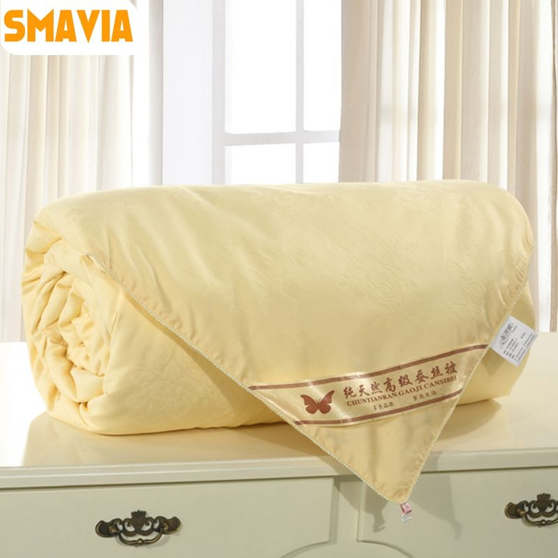 SMAVIA High Quality Silk Quilt 100% Mulberry Silk Comforter 100% Cotton Embossing Fabric Winter/Spring Blankets Accept Custom