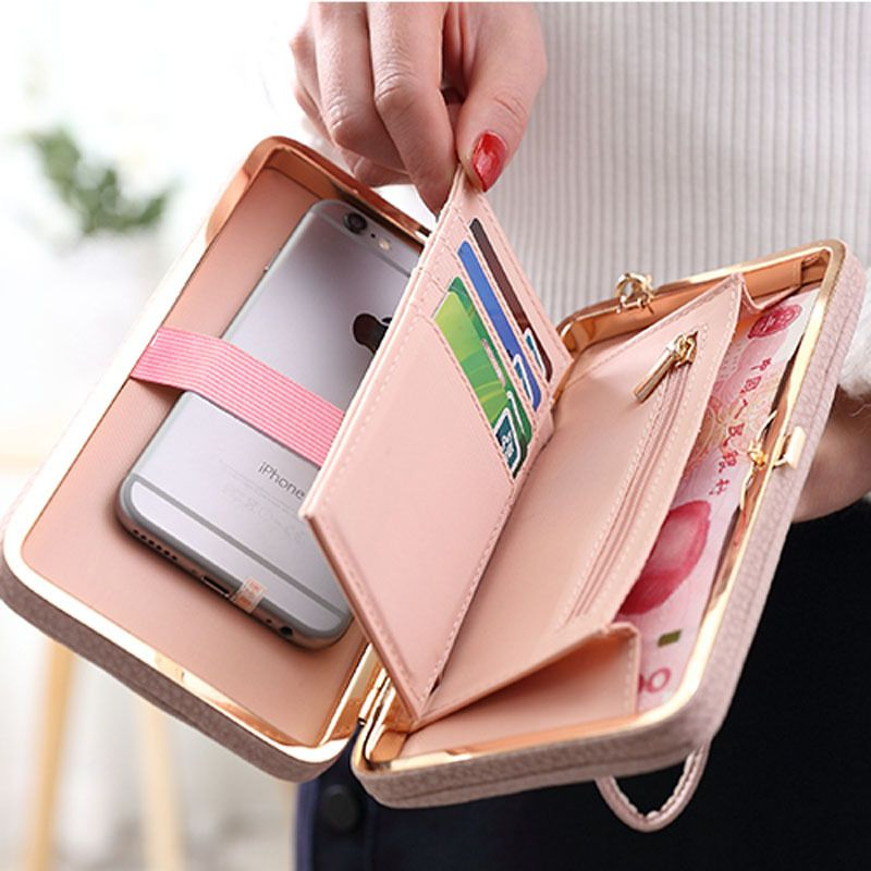 New Fashion Woman Long Wallet Lady Style Box Lovely Bow Phone Package <font><b>Change</b></font> Case Roomy Card Case Female Purse Day Clutches
