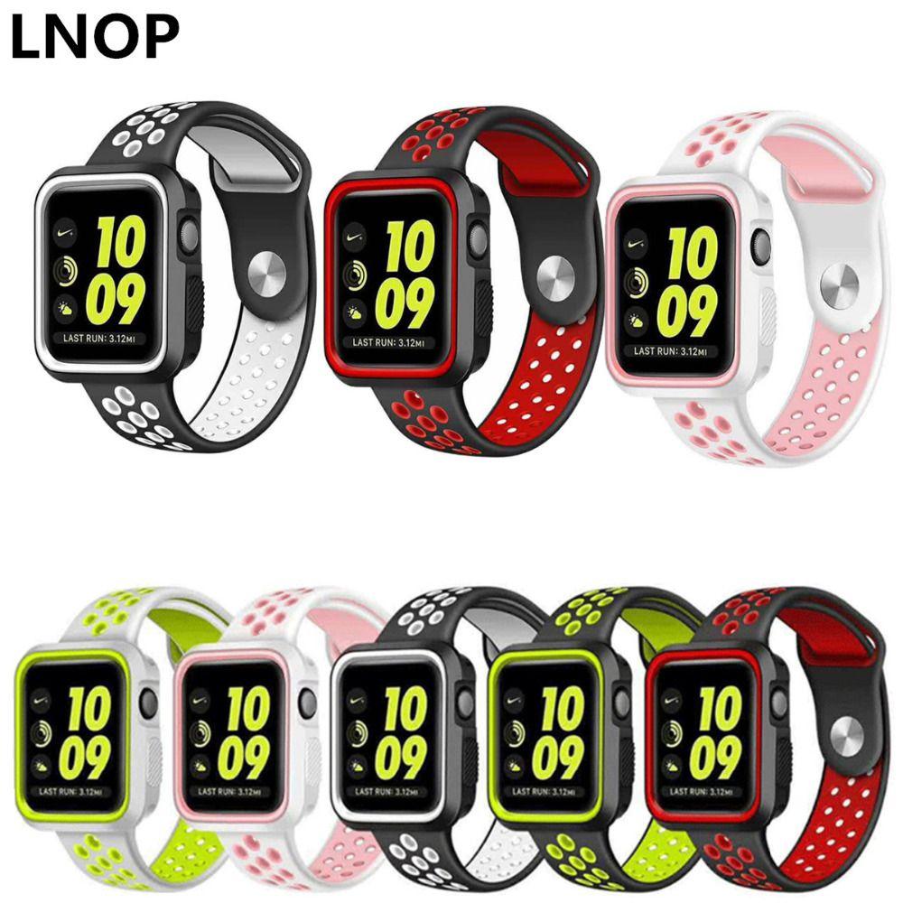 LNOP sport für apple uhrenarmband 42mm 38mm iwatch serise 2/1 armbanduhr band Armbänder + schutz gummi fall