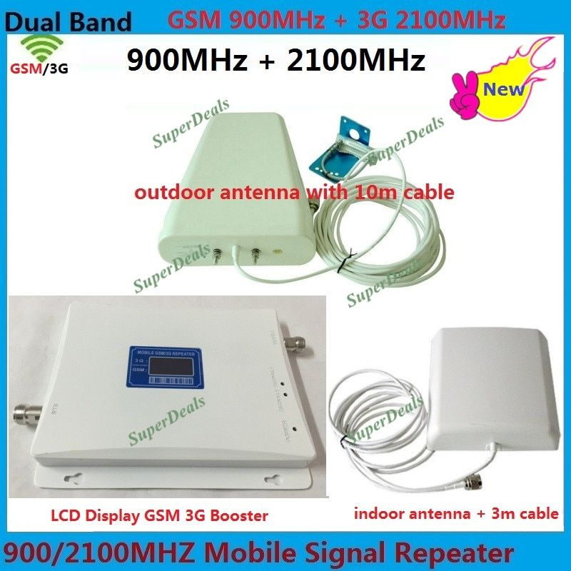 65dBi 900MHz 2G GSM repeater 2100MHz and 3g booster Cell Mobile Phone Signal Booster Amplifier lte UMTS Cellular amplificador