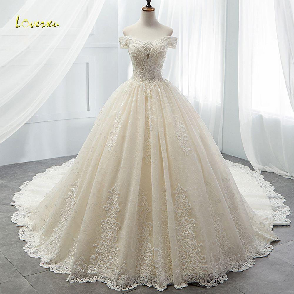 Loverxu Boot-ausschnitt Spitze Vintage Ballkleid Hochzeit Kleid 2018 Royal Zug Appliques Perlen Prinzessin Brautkleid Vestido De Noiva