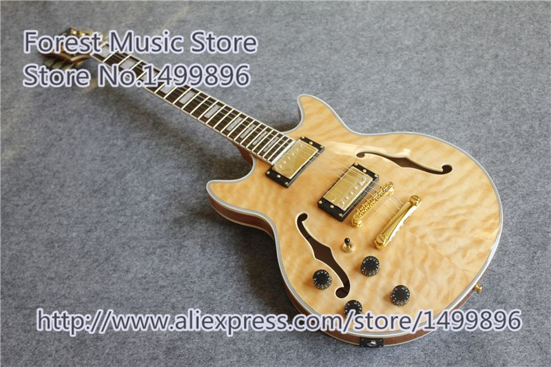 Nature Wood Quilted Finish Hollow Maple Body ES Electric Guitars China OEM Left Handed Guitar For Sale