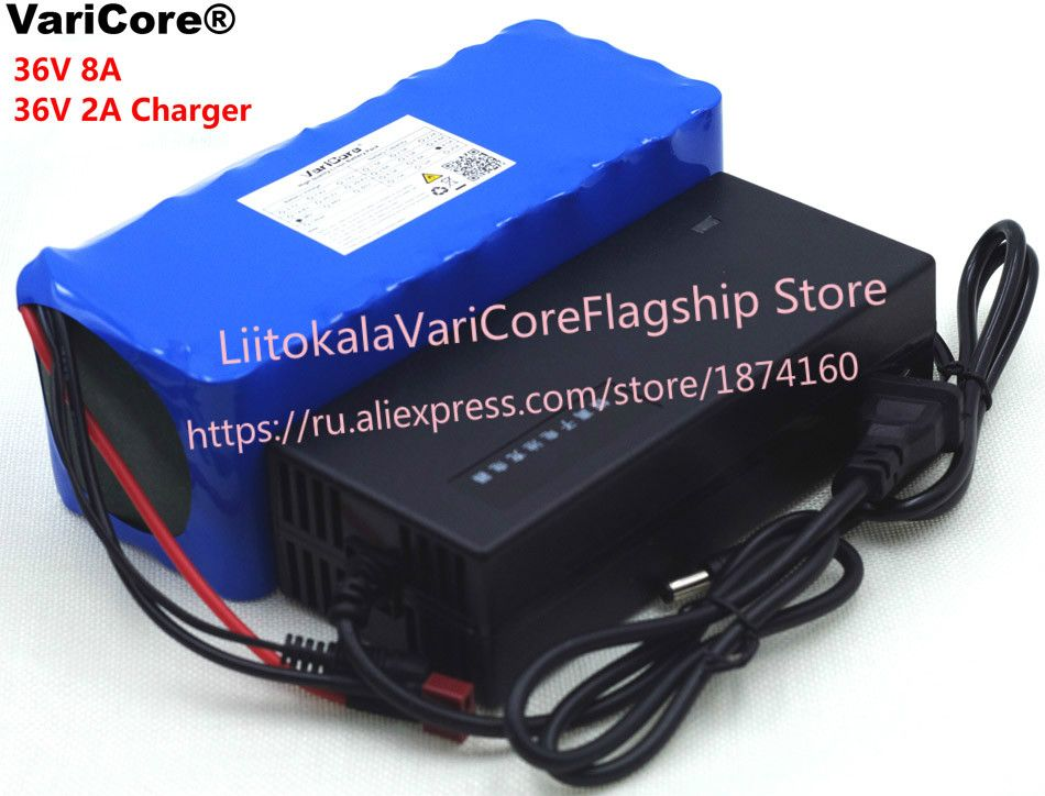 VariCore 36 V 8Ah 10S4P 18650 Rechargeable battery, changing bicycles, electric car 36 V protection with PCB + 2A Charger
