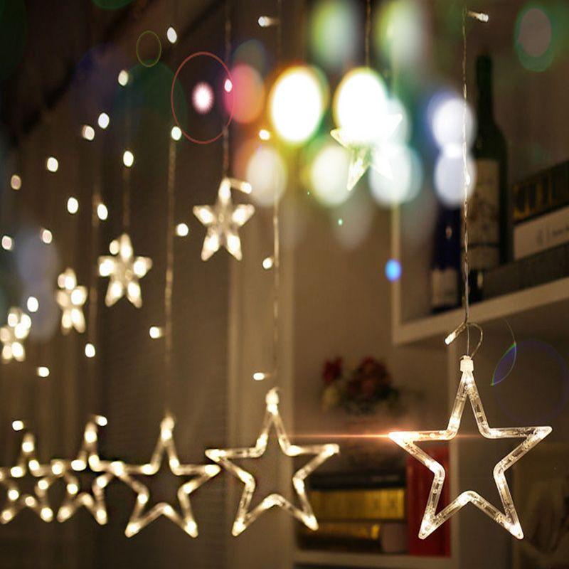 Christmas Lights AC 220V EU Romantic Fairy Star LED Curtain String Lighting For Holiday Wedding Garland Party Decoration