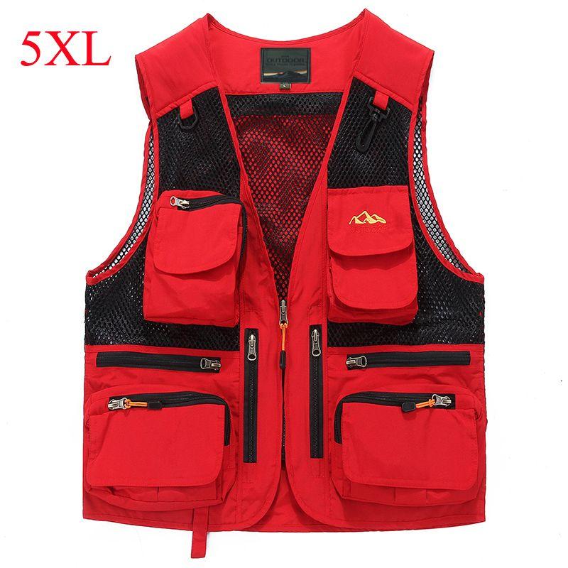 IN-YESON Brand Vest Men Multi Pockets Thin Summer Mesh Vest Sleeveless Jacket Waistcoat Men Journalist Photography vest 5XL