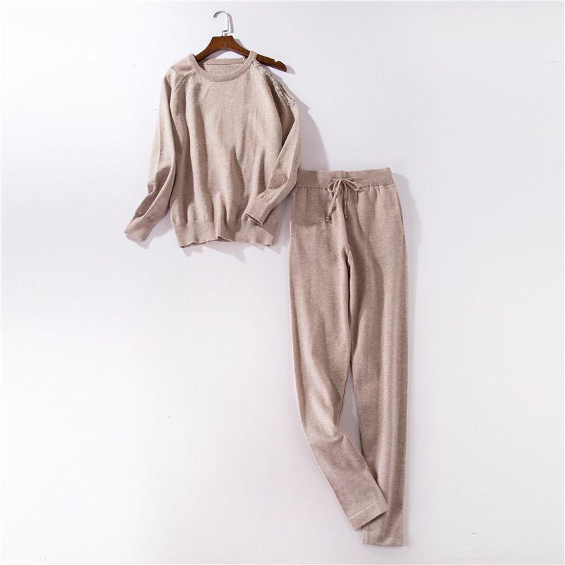 Ensemble tricoté deux pièces perlé épaule dénudée o-cou Sweatshirts + pantalon 2 pièces ensemble automne hiver femmes tricot survêtement sport costume