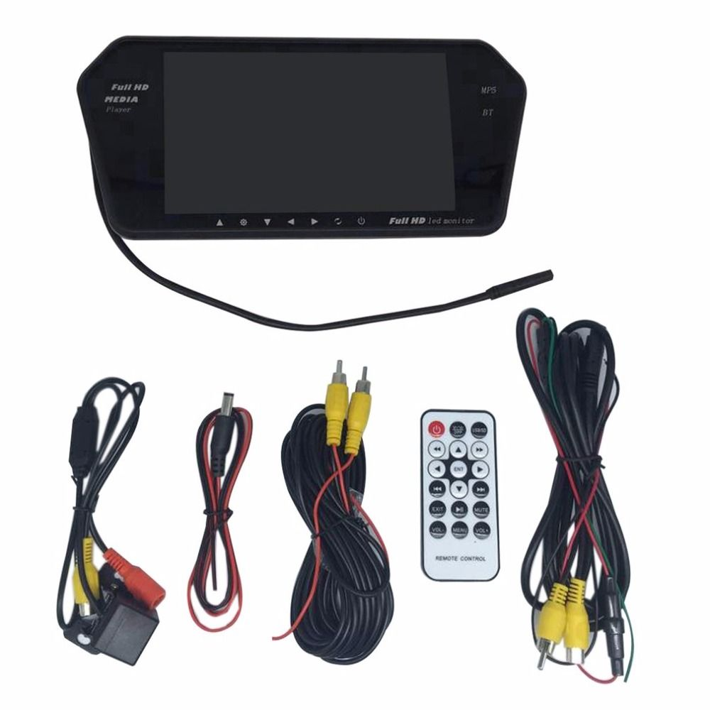 Car Rear View Kit 7 Inch LCD Bluetooth Mirror Monitor With Reverse Camera 170 Degree Wide Angle Lens Support Night Vision