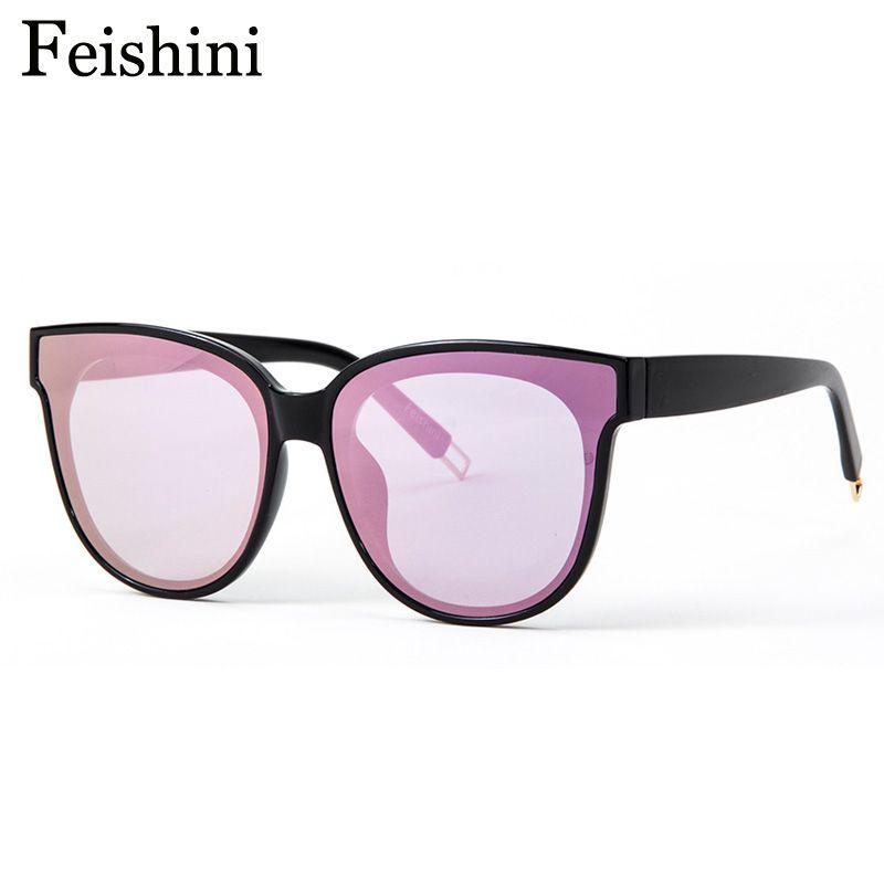 Feishini Couleur de la Mode à Venir De Luxe Plat Top Cat Eye lunettes de Soleil oculos de sol hommes Double Faisceau lunettes de Soleil Surdimensionnées Femmes UV400