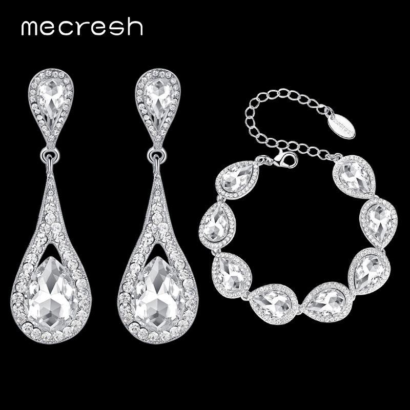Mecresh Elegant Teardrop Bridal Jewelry Sets For Women Silver Color Crystal Bracelet Earrings Sets Wedding Jewelry EH246+SL051