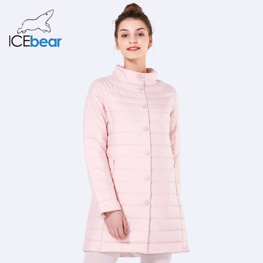 ICEbear 2018 Single Breasted Side Pockets With Closed Zipper Spring Jacket Women Coat Cotton Padded Slim Jacket Coat 17G298D