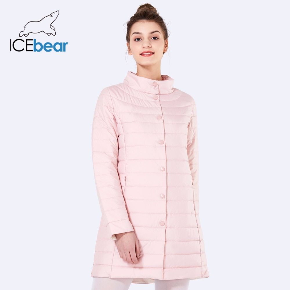 ICEbear 2018 Single Breasted <font><b>Side</b></font> Pockets With Closed Zipper Spring Jacket Women Coat Cotton Padded Slim Jacket Coat 17G298D