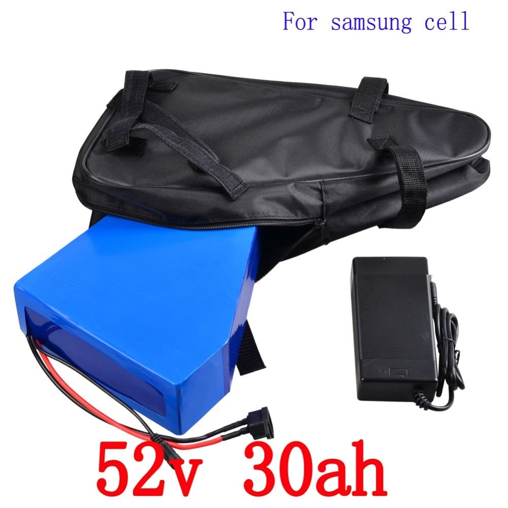 52V Triangle Battery 52V 30AH electric bike battery 52V 2000W ues samsung cell Lithium battery pack with 50A BMS+58.8V charger