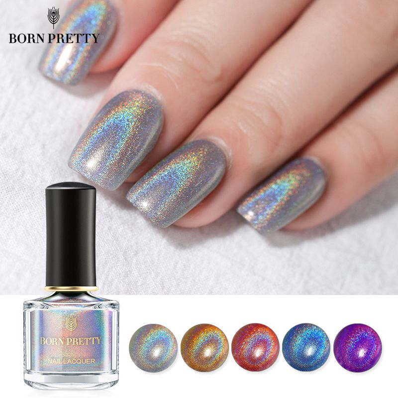 BORN PRETTY Holographic Laser Nail Polish 6ml Flourish Series Varnish Shining Glitter Nail Art Lacquer Polish