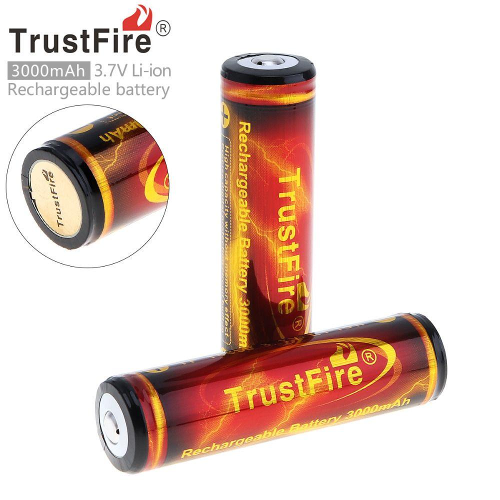 2 Pcs TrustFire Véritable Pleine Capacité 3000 mAh 18650 3.7 V Li-ion Rechargeable Batterie avec PCB Protégée
