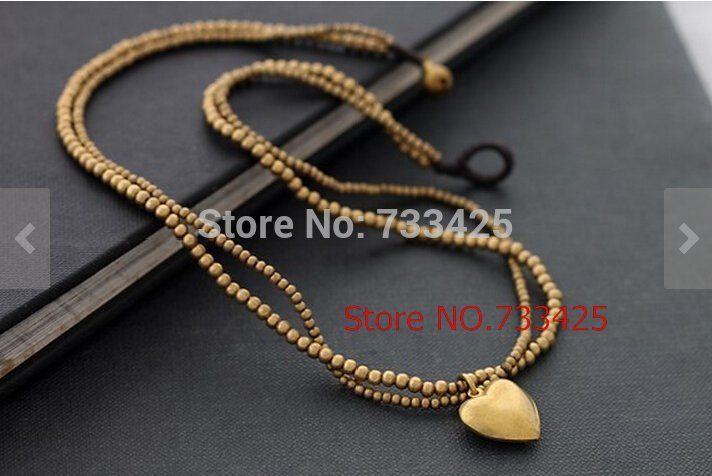 Collier à Double déclaration avec breloque en cœur fait à la main avec cordon ciré tissé, perles en laiton et fermoir en laiton pour femmes 2014