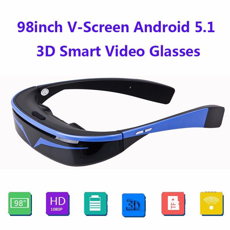 COOLE 98 16:9 virtuelle Wide Screen Andriod 5,1 WiFi BT Video Brillen Privat Theater mit Einbauschlitz Eingebaute 16 GB Speicher