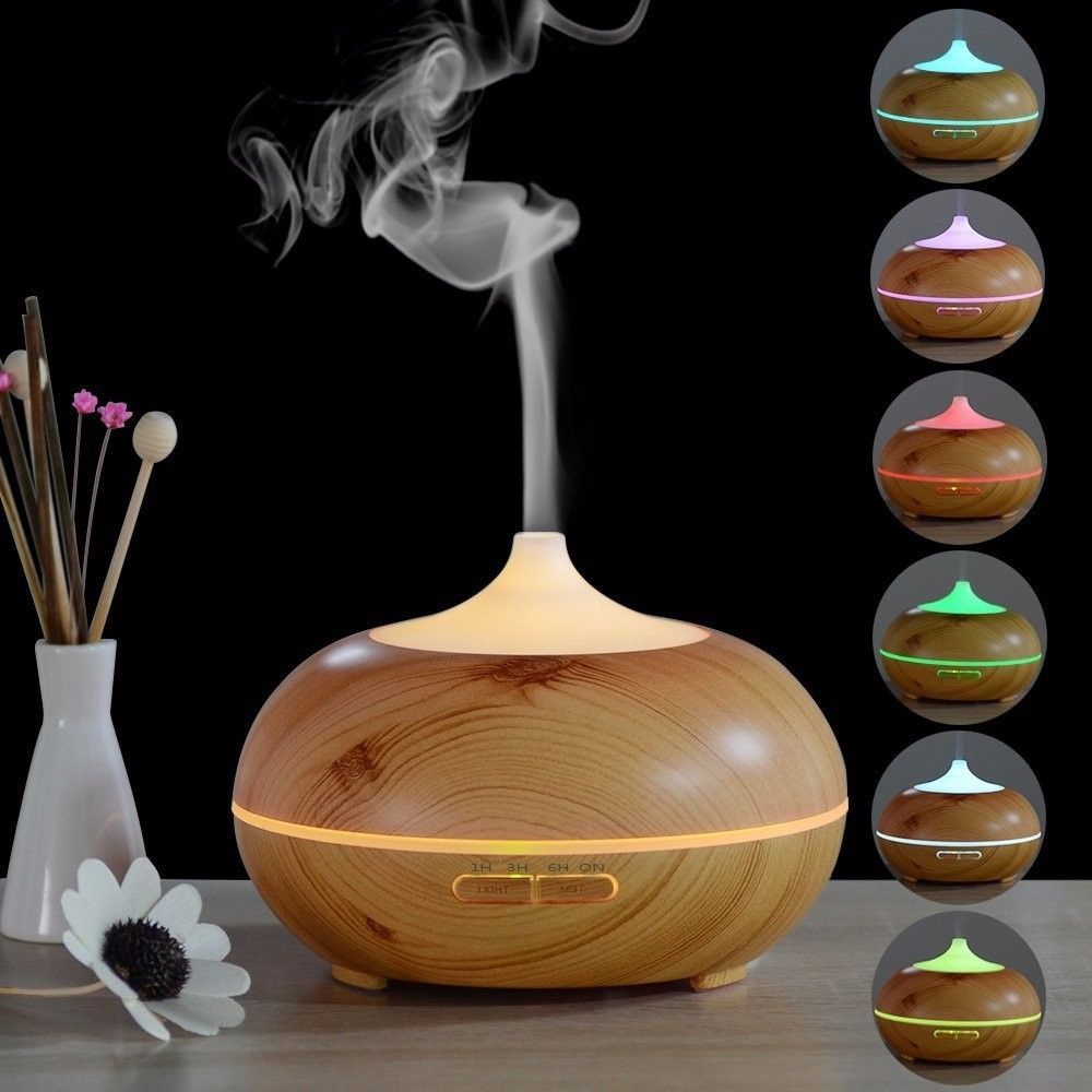 7 Color Changing LED Light Aroma Diffuser 300ML Wood Grain Aromatherapy Essential Oil Diffuser Ultrasonic Air Humidifier