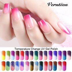 Verntion 8ml Soak Off Temperature Change Color Gel Nail Lacquers Long Lasting Thermo UV Gel Hybrid Nail Gel Varnish Nail Art Set