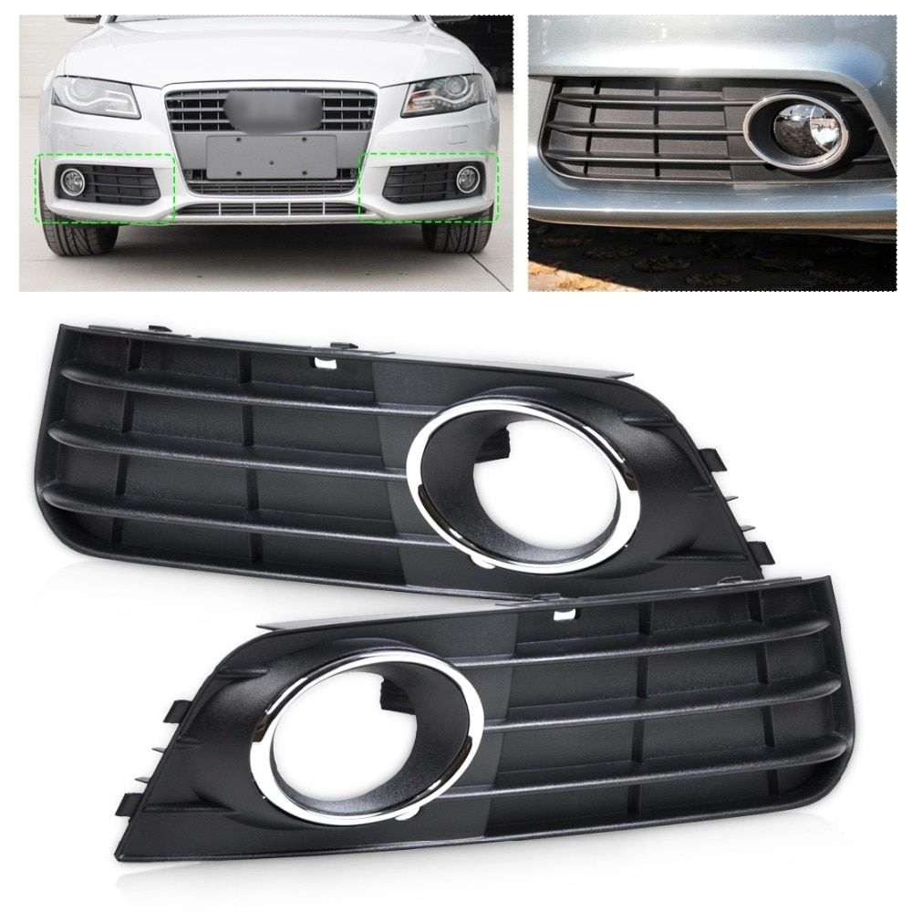 CITALL 8K0807681A 01C 8K0807682A 01C Front Left + Right Bumper Fog Lamp Cover Grille For Audi A4 B8 2008 2009 2010 2011 2012