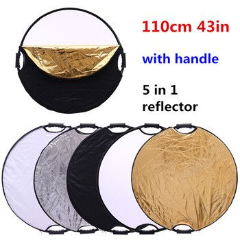 CY Hot sale 43'' 110cm Portable Collapsible 5 in 1 Light Round Photography Reflector with the handle for Studio Multi Photo Disc