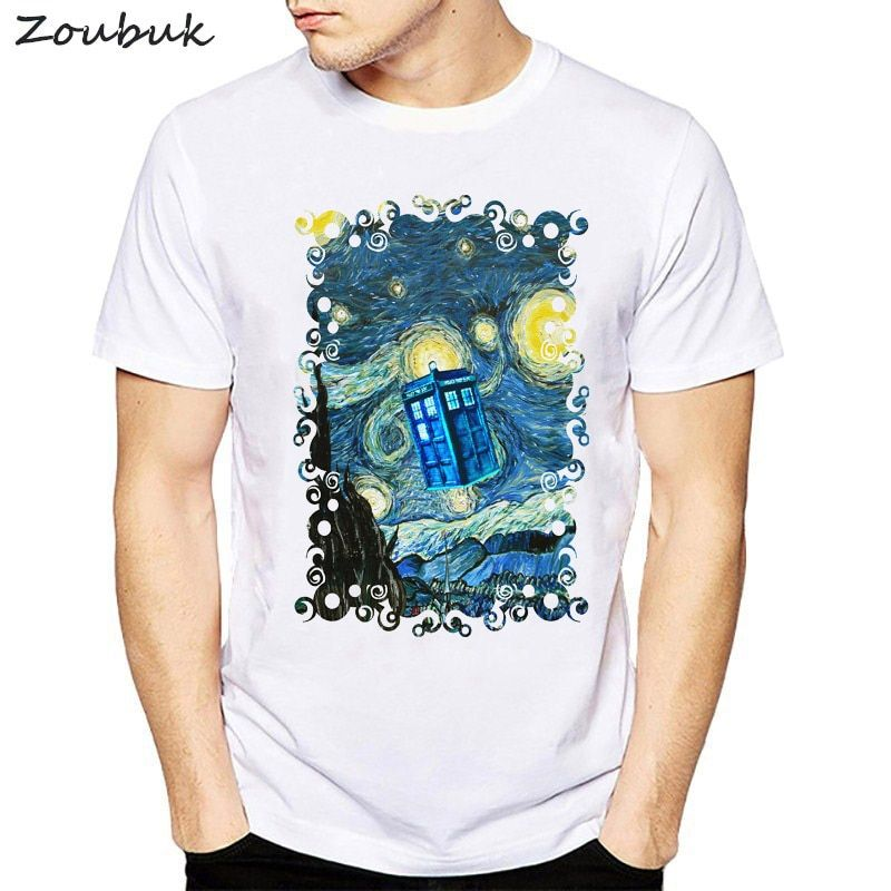 2018 men women Doctor Who T-Shirt Short Sleeve Casual Tops Novelty Blue Phone Booth Starry The Night Printed T Shirt Fashion Tee