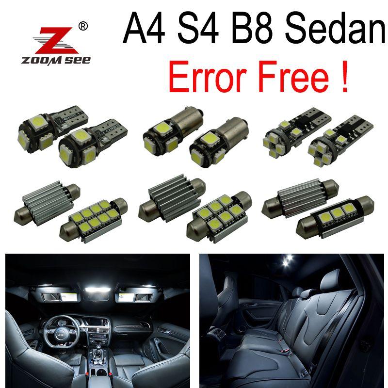 17 pièces ampoule de LED sans erreur pour Audi A4 S4 RS4 B8 Quattro berline intérieur Kit de lampe de carte dôme + lampe de plaque d'immatriculation (2009-2015)