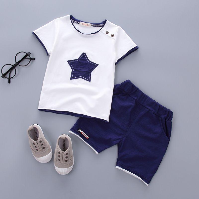 Garçons vêtements ensemble 2018 D'été nouvelle mode 100% coton avec cinq étoiles imprimer pour 1 2 3 ans infantile vêtements 2 pcs ensemble A075