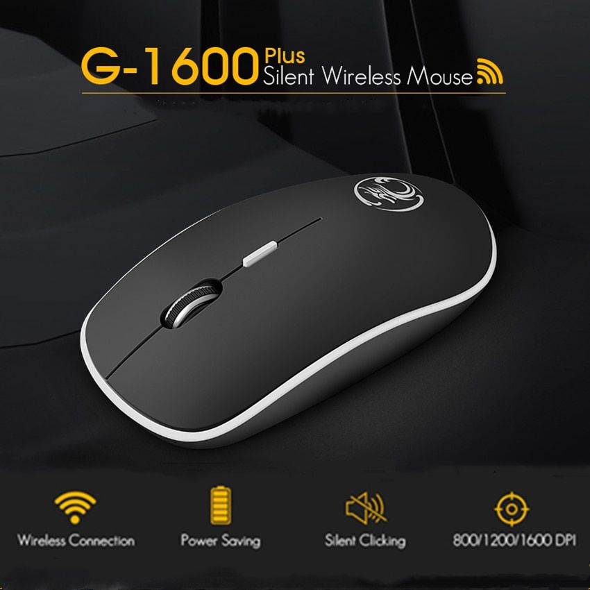 iMice Wireless Mouse Silent Computer Mouse 2.4Ghz 1600 DPI Ergonomic Mause Noiseless USB PC Mice Mute Wireless Mice for Laptop