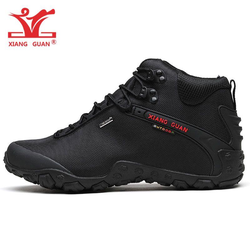 XIANG GUAN Mann Wandern Schuhe Männer Schwarz Trekking Stiefel Medium Geschnitten Atmungsaktive Sport Klettern Camping Outdoor-Trail Walking Sneaker