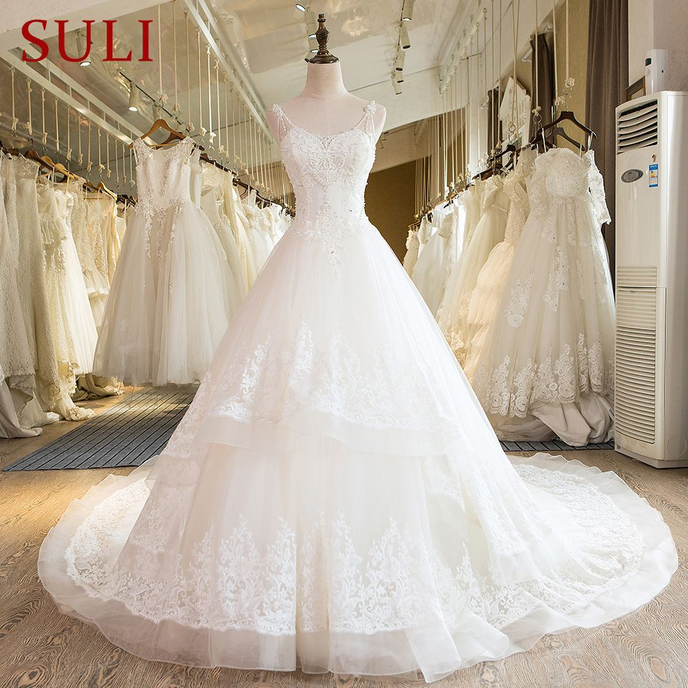 SL-25 New Sweetheart Cathedral Train Lace up Pearls Wedding Dress 2017