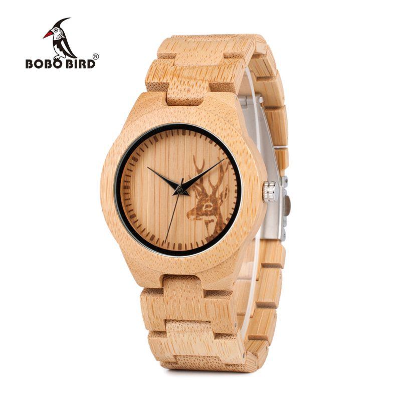 BOBO BIRD E04 Women's Elk Deer Design <font><b>Dial</b></font> Fashion Bamboo Watch Japan Quartz Bamboo Band Watches As Best Gift For Ladies Relojio