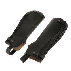 1 Paire Noir Doux PU En Cuir Équestre Équitation Gaiters Chaps Moyen Jambe Noire Couvre Qualité Sport Jambe Protecteur