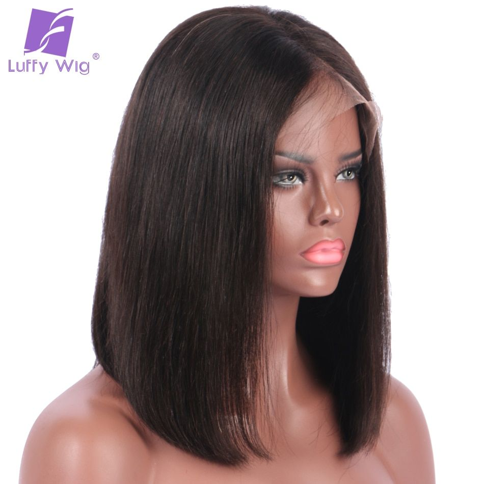 Luffy 150% Density Short Bob Lace Front Wigs Deep Parting Straight Peruvian Human Hair Non-remy Natural Color Pre plucked