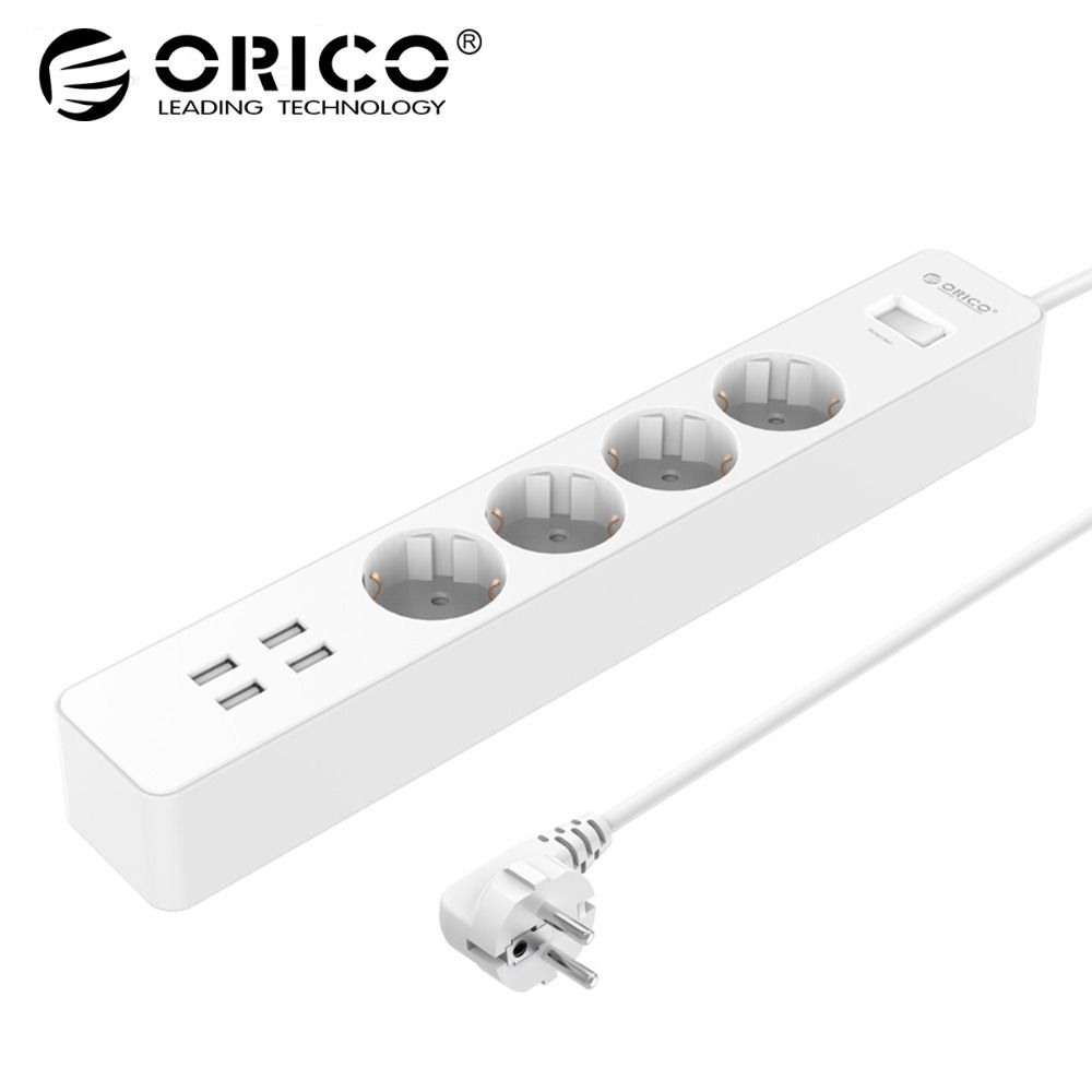ORICO Power Strip Electrical Socket Home Office EU/UK Surge Protector With 4 USB Charger 4 AC Plug Multi-Outlet