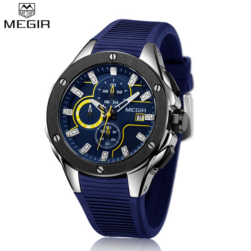 MEGIR Quartz Watches Men Top Quality Chronograph Functions Sport Watch Waterproof Blue Silicone Rubber Strap Wristswatch Clock