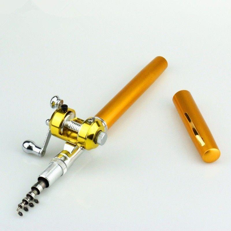 Mini canne à pêche télescopique de poche portative de courant extérieur forme de stylo de pôle de canne à pêche pliée de lac de rivière avec la roue de bobine