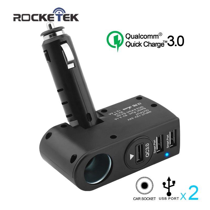 Rocketek smart IC Quick QC 3.0 USB phone car Charger Adapter 1 Socket Car Cigarette Lighter Splitter car-charger suitable 2.0
