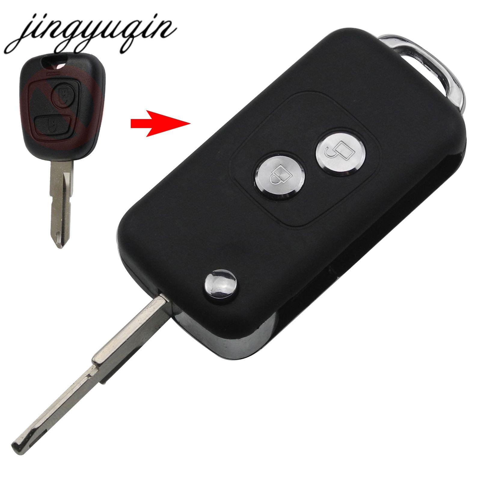 Jingyuqin Geändert Flip Folding Key Fob Fall für Peugeot 206 207 Citroen C2 Fernbedienung Auto schlüssel Shell-Ersatz