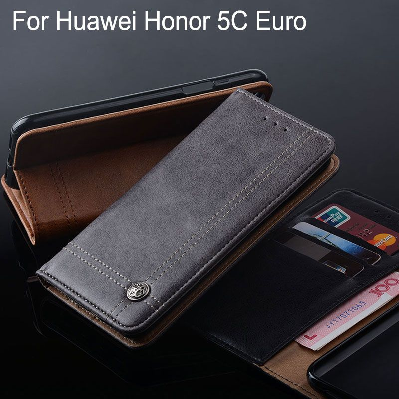 funda for huawei honor 5C Euro case no Fingerprinting Luxury Leather Flip cover with Stand Card Slot Vintage Without magnets