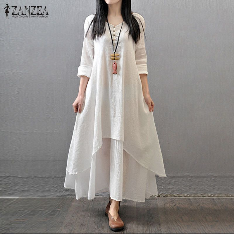New Arrival 2015 Casual Solid <font><b>Autumn</b></font> Dress Fashion Women Loose Full Sleeve V Neck Cotton Linen Boho Long Maxi Dresses Vestidos