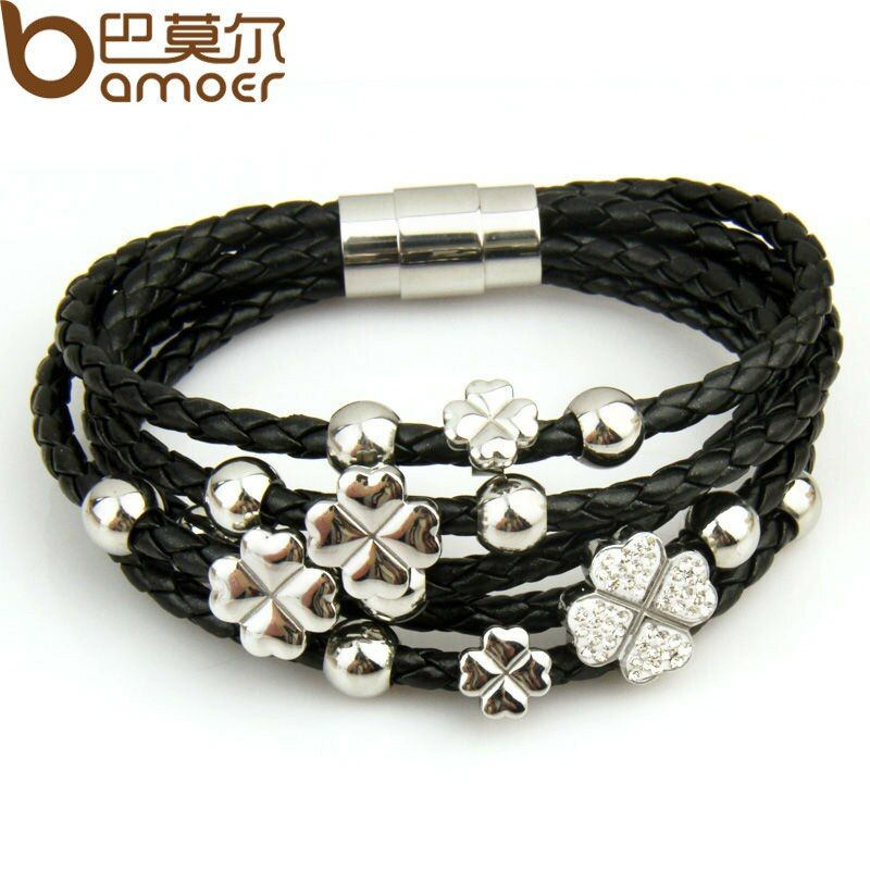 HOT SELL Leather Wrap Bracelet Leaf Clover Flower Crystal Bangles White for Women Fashion Stainless Steel Jewelry PI0693
