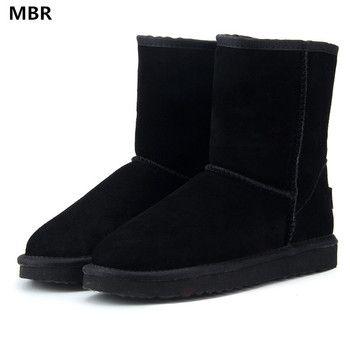 MBR классический водонепроницаемый натуральной воловьей кожи зимние кожаные ботинки 100% шерсть Для женщин Сапоги и ботинки для девочек теплы...