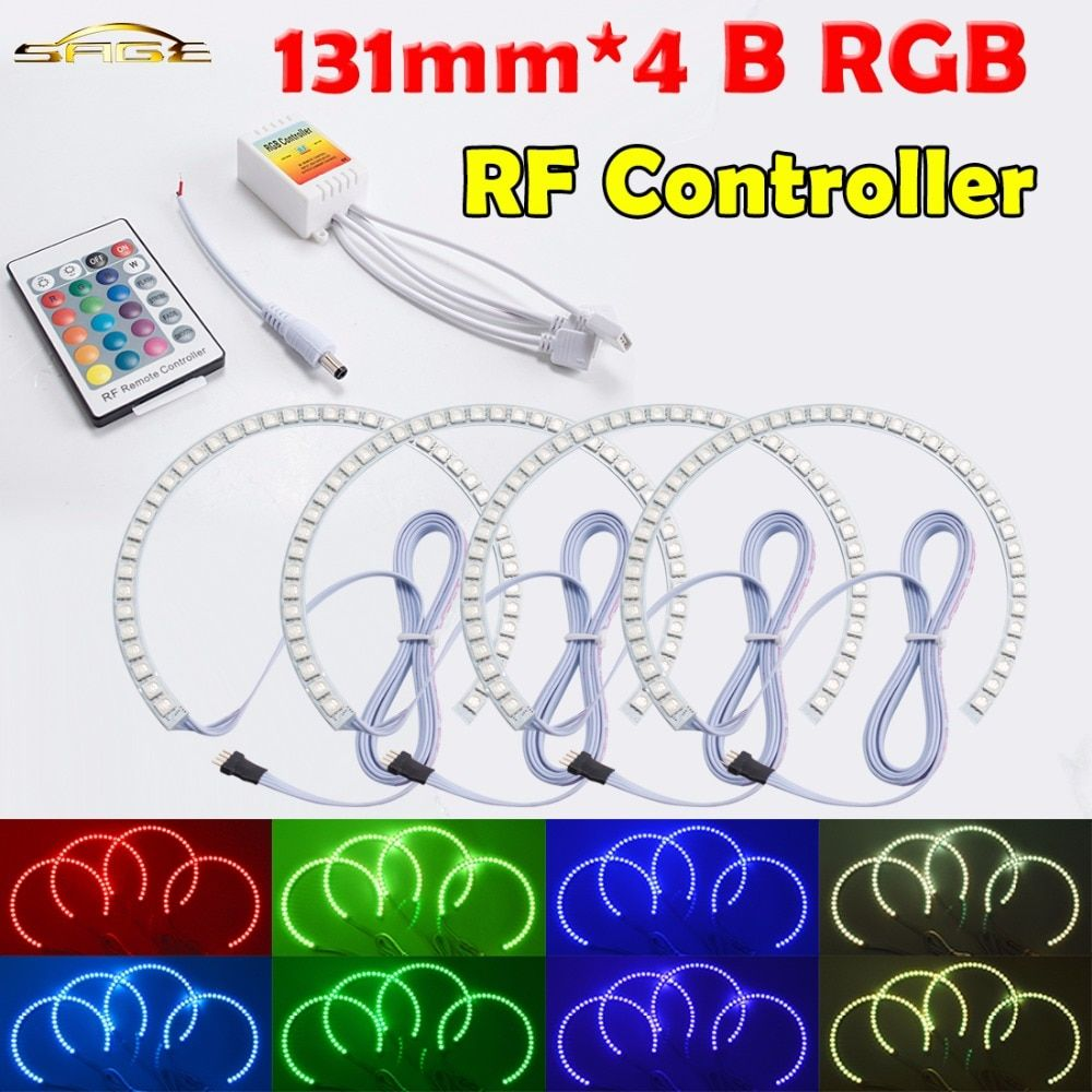 flytop RF Controller 4x131mm B RGB LED Angel Eyes Headlight Multi-color with Halo Ring Remote Control for BMW E36 E39 E46