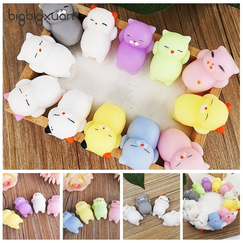 4pcs/12pcs Squishy Toy Kawaii Cute Mini Rolling Pregnant Lazy Cats Soft Hand Pinch Squeeze Stress Relief Phone Straps Kid Gifts