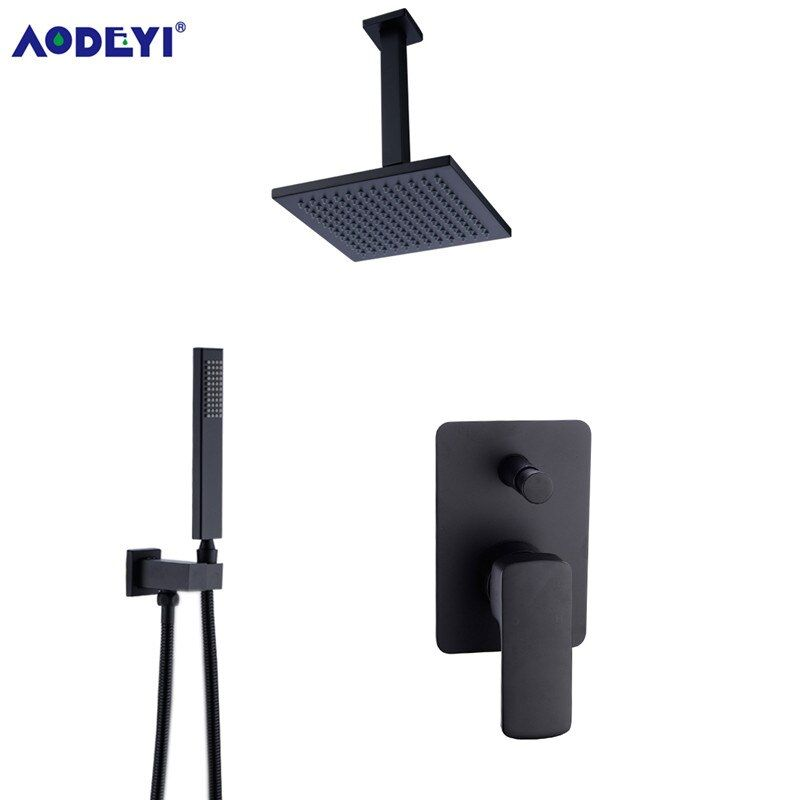 Brass Square Black Shower Set Bathroom 8