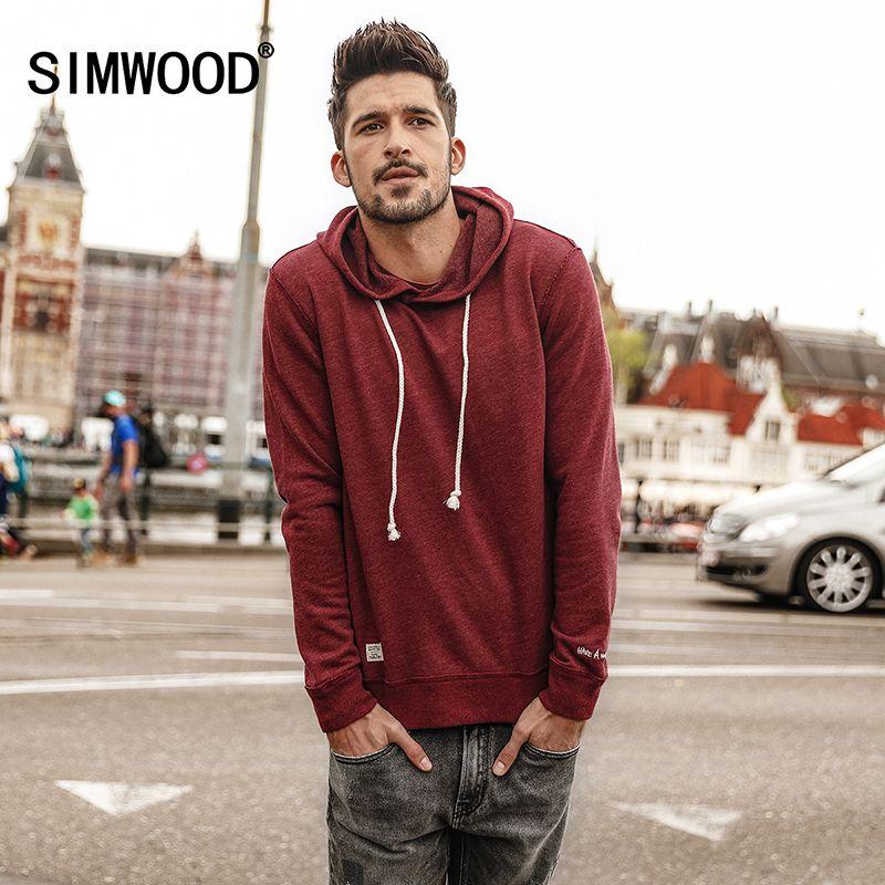 Simwood 2018 hombres Sudaderas nueva primavera sudadera de moda casual masculino moletom masculino slim fit Plus size chándal wt017002