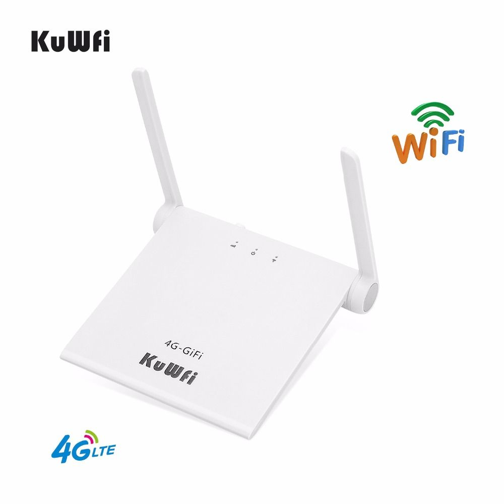 KuWFi 4G LTE Wifi Router 150Mbps 4G Indoor WiFi Router With Sim Card Slot Support LTE FDD B1/B3 Charger By USB With Two Antenna