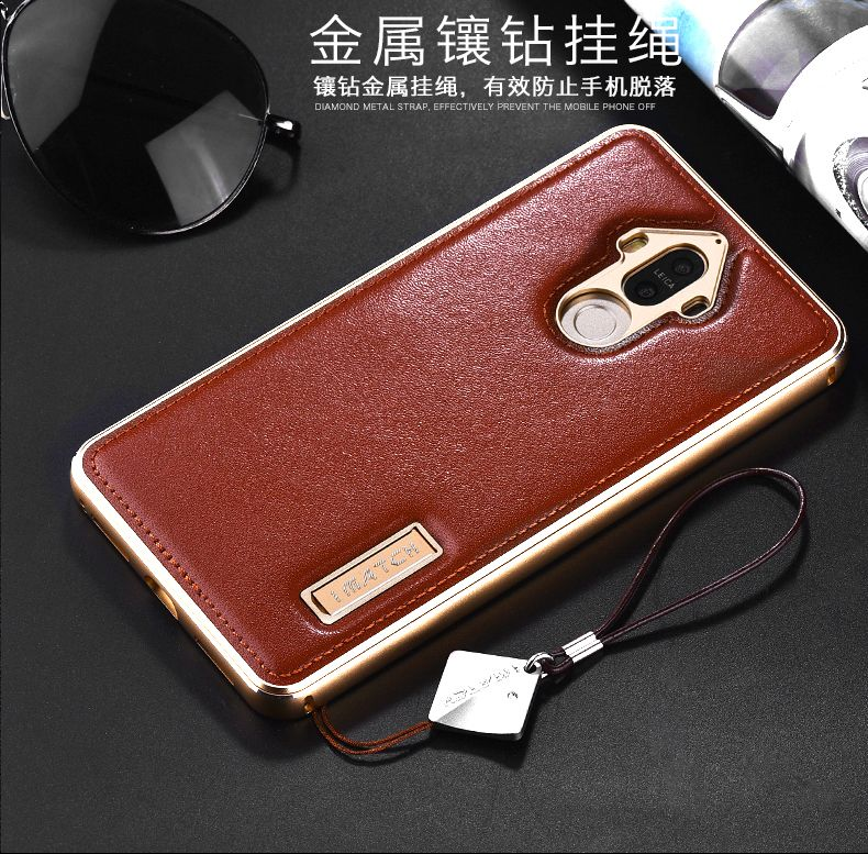 Genuine Leather Case For Huawei Mate 9 Pro Luxury Aluminum Metal Bumper Hard Back Cover For Huawei Mate 9 Phone Cases Housing