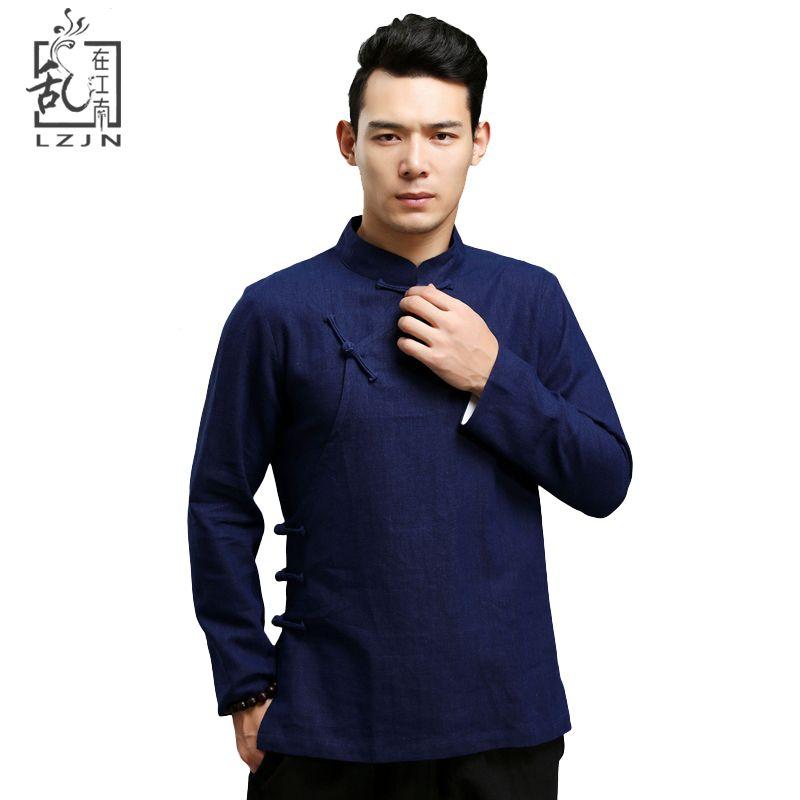 LZJN Blouse en lin noir pour hommes vêtements traditionnels chinois Chemise en lin mandarine à manches longues Blusas ethniques Chemise Masculina